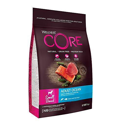 Wellness CORE Small Breed Adult Ocean, Hundefutter trocken getreidefrei, für kleine Rassen, hoher Fleischanteil, ohne künstliche Zusatzstoffe - Lachs & Thunfisch, 5 kg