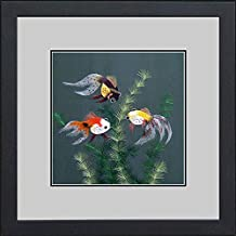 King Silk Art 100% Handmade Embroidery Three Goldfish in Peonies Chinese Print Framed Wildlife Fish Painting Gift Oriental Asian Wall Art Décor Artwork Hanging Picture Gallery 32002WFG