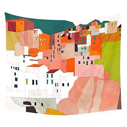 Tapiz, Italia Costa Casas Pintura Minimal Abstracta Decoración del Hogar Colgante de Pared Interior Tela Decorativa para Sala de estar Dormitorio (Colorido 60 x 51 pulgadas)