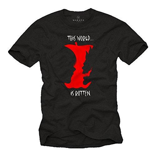 MAKAYA This World is Rotten - Ryuk Shinigami T Shirt Uomo Death Note Black Edition Nera S