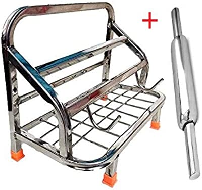 Rollyware™ Premium 100% Heavy Steel Chakla Belan Tawa Chimta Stand + Steel Belan Free - Lighter Stand 4in 1 chakla belan tawa Holder
