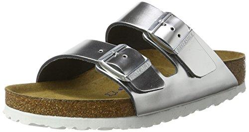 Birkenstock Arizona Leather Sandals Silver Size 36