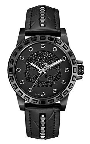 Harley-Davidson Women's Black Stainless Steel Watch | Willie G Skull | Swarovski Crystals