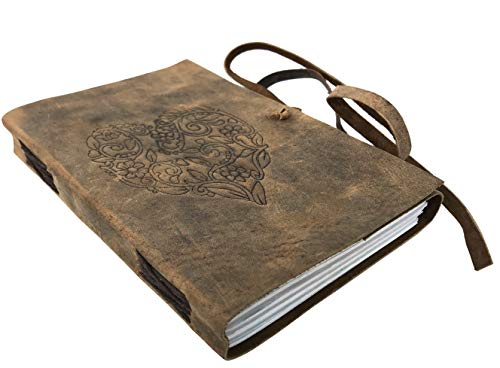 Original Vintage taccuino DIN A5 I rilegato – Diario non foderato Buffalo in pelle I Travel Journal I 96 fogli, 192 pagine non foderate carta senza acidi I Journal idea regalo – Marrone