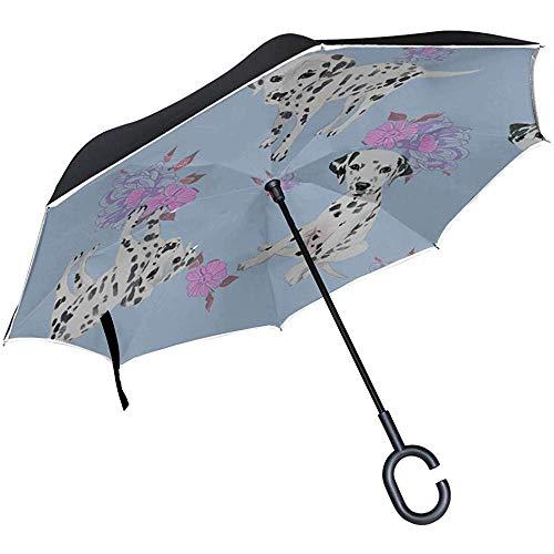 ETGeed Paraguas Reversible invertido de Dibujos Animados Lindo Perro Mascota dálmata Mejor...