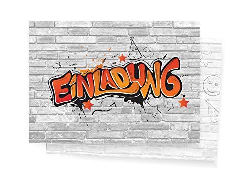 Friendly Fox Einladung Graffiti Art - 12 Graffiti Einladungskarten zum Geburtstag Kinder Jungen Mädchen Teenager - Einladung Kindergeburtstag - Partyeinladung Graffiti - Coole Einladung (Rot)