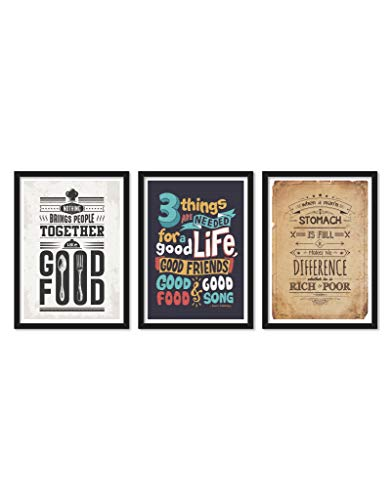 LAB NO 4 Set of Three Nothing Brings People Food & Kitchen Quote Framed Poster (Paper, A3 Size, Multi)