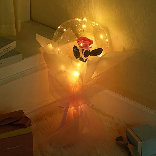 LEDルミナスバルーン ローズブーケ フラワー 花束 造花 バラ バレンタインデー フラワー 誕生日 バースデー お祝い 女性 母の日 お見舞い 結婚祝い 透明なバラの軽い気球 誕生日 装飾用 人気 プレゼント (ピンク)