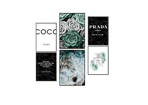 Postertech Premium Bilder Set | 6 Bilder als Wandschmuck | 2x A3 & 4x A4 | Poster Sets mit Coco Türkis Rose Natur Meer (Ohne Bilderrrahmen)