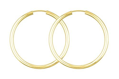 Ohrringe, Creolen, Gelbgold 333 / 8K, Außendurchmesser 40 mm, Breite 2.5 mm, Gewicht ca. 2 g, NEU