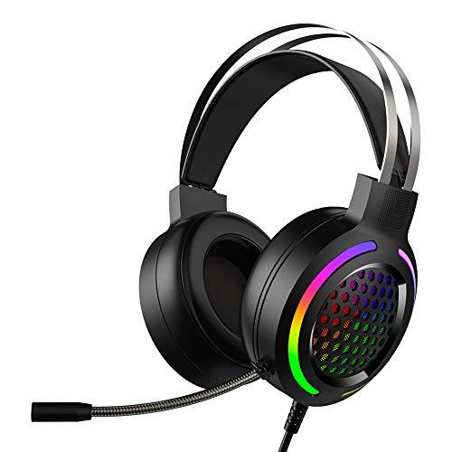 Gaming-Headset Virtueller 7.1-Kanal-Stereo-Surround-Kopfhörer mit Soundkarten-Chip Omnidirektionales Mikrofon 50-mm-Audiotreiber 16 Farben RGB-Rauschunterdrückung für PC / PS4 / Laptop Mac (Schwarz)