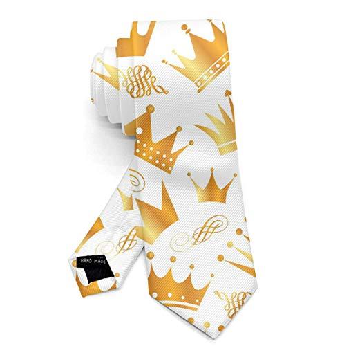 Men's Skinny Tie Gold Crown Fashion Causal Printed Silk Necktie