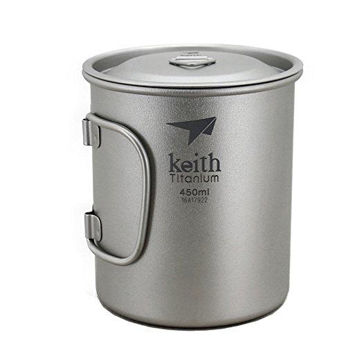 Keith Titan Becher Outdoor Mug Camping Tasse Mit Deckel Picknick Geschirr(450ml.Ti3204)