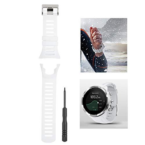 DAUERHAFT Accesorio de Reloj Duradero antialérgico con Correa de Reloj Reloj Ambit1 / 2/3(White Silver Buckle)