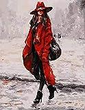 OKOUNOKO Malen Nach Zahlen Modern Abstrakt Ölgemälde Kits, Rote Frau, Modern DIY Kits, Kunstwerk Zuhause Einzigartig Dekoration Geschenk Frameless, 80X100Cm