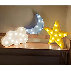 AUSAYE 3Pack LED Night Lights 3D Moon Cloud Star Sign Lamp Battery Operated Wall Decoration NightLight for Living Room,Bedroom,Home,Party,Christmas Kids Adult Gifts
