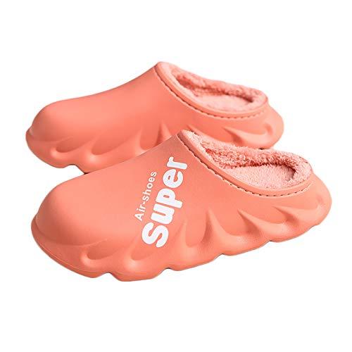 HUSTLE Zapatillas de Estar por Casa para Mujer Invierno Cálido Pantuflas Ligero Comodo Suave Parte Superior Impermeable Interior Zapatos de Algodón,Rosado,38/39