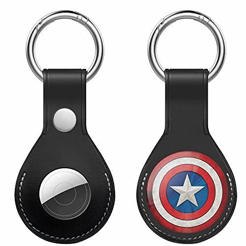 Gicoucc Mini Black AirTag Case Genuine Leather Tracker Holder with Key Chain