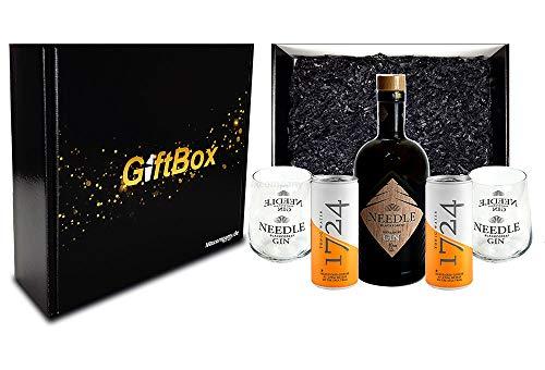 Mixcompany Geschenkset - Needle Blackforest Dry Gin 0,5L (40% Vol) + 2 x Needle Glas + 2 x 1724 Tonic Water 0,2l EINWEG inkl. Pfand- Needle Blackforest Gin Geschenk Set