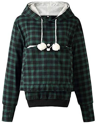 Womens Hoodie Pet Carrier Sweatshirt Kitten Puppy Holder Pouch Tops Shirts M Green