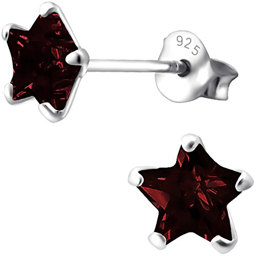 EYS JEWELRY Ohrstecker Damen Sterne 925 Sterling Silber Zirkonia granat-rot Damen-Ohrringe