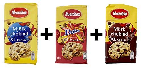 Marabou - Probierangebot - Daim XLCookies, Milch Schokolade XL Cookies, dunkele Schokolade XL Cookies, 3er Set, ( 3x 184g )