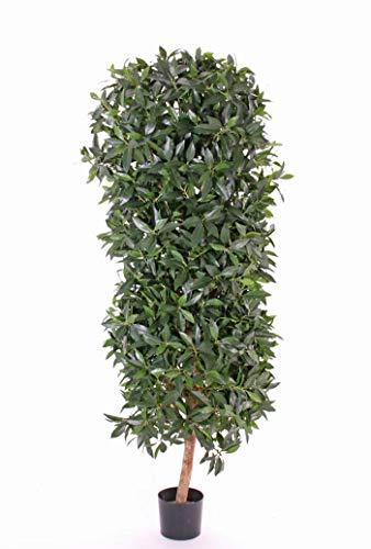 artplants.de Kunst Kirschlorbeer Säule PETROS, Echtstamm, Früchte, 195cm, Ø 55cm - Dekobaum - Unechter Lorbeer