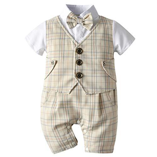Bebé Mameluco de Algodón Pajarita Caballero Mono Peleles Niños Manga Corta Pijama Ropa de Dormir