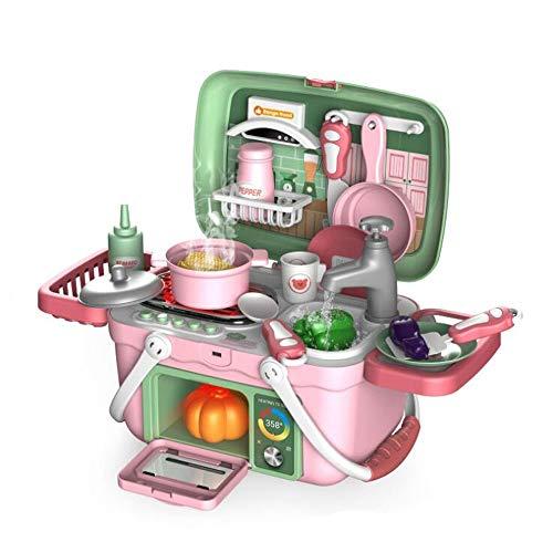 HSCW 30 unids/set Kids Kids Juguetes de cocina Utensilios de cocina Potes y sartenes Set Food Cooking Maleta Pretten Play Toy Electric Spray Water Children's Hogar Set regalos de cumpleaños para niñ