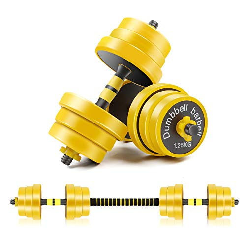 CDCASA Adjustable Dumbbells, 44 Lbs Weight Set, Dumbbell Barbell 2 in 1, Solid and Configurable with Rubbery Protective Cover, Easy Assembly and Save Space, Home Gym Equipment for Men and Women