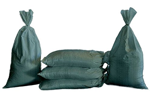 """Sand Bags - Empty Woven Polypropylene Sandbags with Built-in Ties, UV Protection; Size: 14"""" x 26"""", Qty of 100 (Green)"""