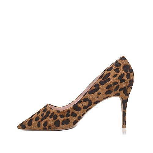 GENSHUO Zapatos de Tacón Mujer Moda 8CM Puntiagudas Tacón de Aguja Tacón para Vestido de Fiesta Bombas de Tacón Bajo,Ante de Leopardo LPF-38 EU