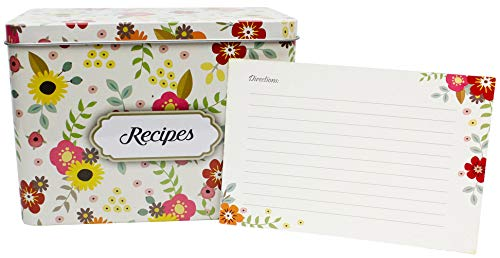 Light Metal Recipe Box Set With 100 Recipe Cards & 20 Blank Dividers | Holds Up To 200, 4x6 Cards | From Splendid Chef