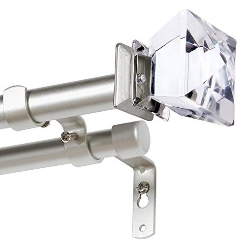 H.VERSAILTEX Double Curtain Rod Set for Windows Decorative Drapery Rods Adjustable Length from 28 to 48 Inch, 3/4 Inch Diameter, Nickel, Acrylic Square Finials