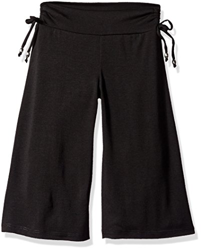 Amy Byer Girls' Soft Knit Wide Leg Gaucho Pants, Black, Medium