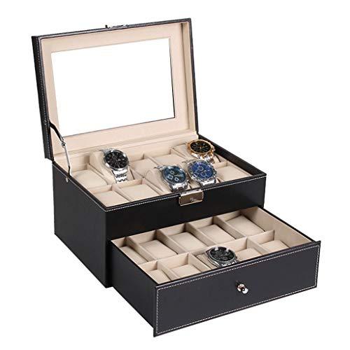 LAMZH Reloj Caja Caja para Relojes Caja para Relojes Cuero 20 Compartimentos 2 Capas Multifuncional Cajón Joyería Organizador Viaje Estuche Regalo Caja Almacenamiento Reloj (Color : Black)