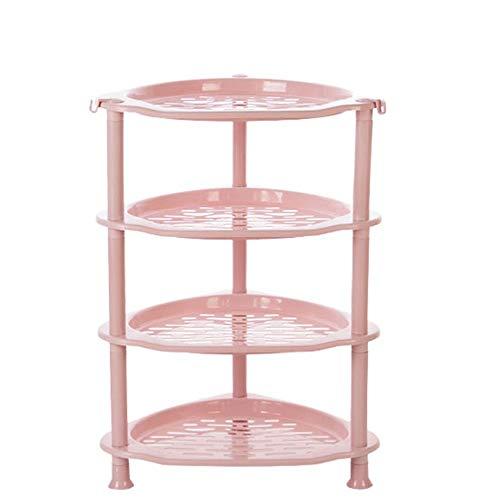 HAIBUHA0 Küchenregal Mehrstöckige Boden Badezimmer Lagerregal Eckrahmen (Farbe : Rosa, größe : 4 Layers)