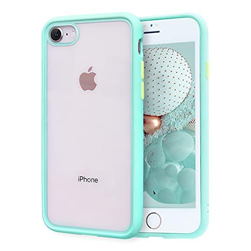 ZELAXY Funda Transparente para iPhone SE iPhone 7 iPhone 8 (+ Protector de Pantalla) – Carcasa Trasera Bumper Antigolpes Arañazos– con Bordes de Silicona – no amarillea TPU PC – Verde Menta