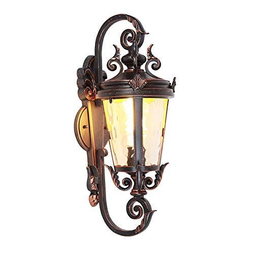 Bxiaoyan Luz de pared impermeable marrón y negro, luz de pared de jardín, luz de balcón al aire libre de aluminio, luz de porche, faro