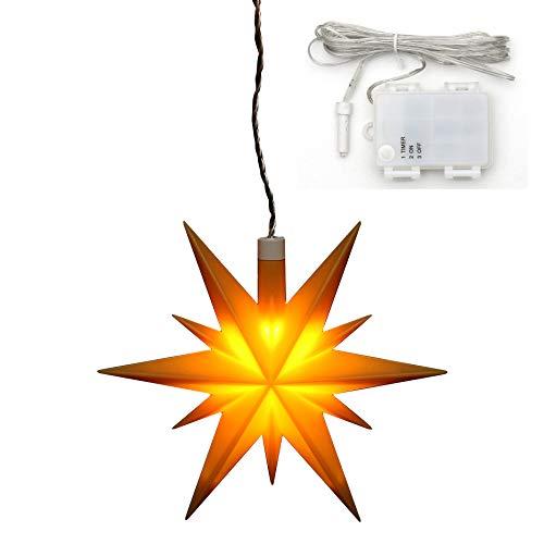 Dekohelden24 Weihnachtsstern aus Kunststoff in gelb, für Innen und Außen geeignet, inkl. LED Beleuchtung und 6h Timer, für Batteriebetrieb. Maße L/B/H: 13,5 x 5,5 x 12 cm.