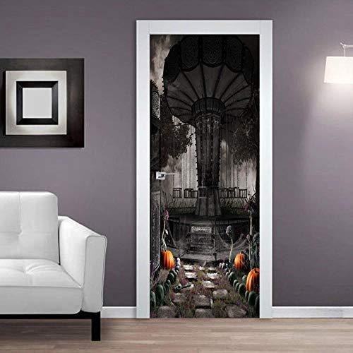 3D Etiqueta de la puerta Silla voladora de terror 77X200CM Vacaciones hogar paisajes decoración tridimensional calcomanía etiqueta de la pared bricolaje regalo europeo ilustración autoadhesivo
