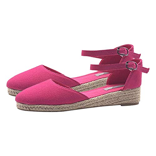 Espadrilles Damen Sandalen mit Plateausohle und Keilabsatz, Frauen Geschlossen Sandaletten Urlaub Strand Sommersandalen Schöne Bequeme Strandsandalen Celucke (Pink, 36EU)