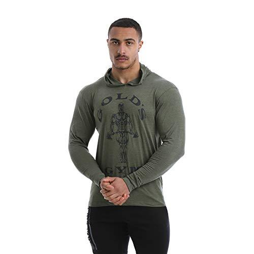 Golds Gym Sweat Top Capuche et Manches Longues T-Shirt Mens, armée Marl, Moyen