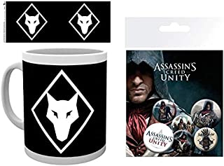 1art1 Set: Assassin's Creed, Syndicate, Starricks Logo Photo Coffee Mug (4x3 inches) and 1 Assassin's Creed, Badge Pack (6x4 inches)