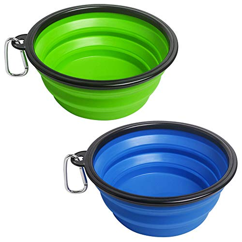 Rapsrk Extra Large Size Collapsible Dog Bowls,2 Pack Portable Silicone Dog Water Bottle Travel Bowl for Camping, Pet Feeding Watering Dish for Cats Foldable Expandable Cup Dish with Carabiner