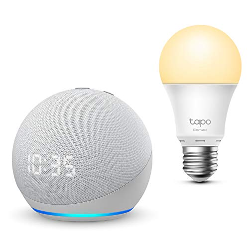 Nouvel Echo Dot (4e génération) avec horloge, Blanc + TP-Link Tapo Ampoule Connectée (E27), Fonctionne avec Alexa