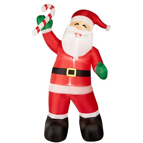 HOLLO STAR 8Ft Christmas Inflatable Yard Decor, Blow Up Lighted Sugar Santa Claus, Outdoor Indoor Holiday Decorations with LED Lights for Home Lawn