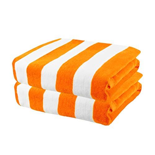 Exclusivo Mezcla 2 Pack 100% Cotton Oversized Large Beach Towel,Pool Towel (Cabana Stripe,Orange 35
