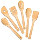 IOOLEEM Cooking Utensil Set (6, Natural Bamboo), wooden spoons for cooking, spatula set, wooden utensils for cooking, bamboo utensils, wooden spatula for cooking