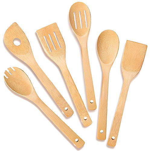 IOOLEEM Cooking Utensil Set 6 Natural Bamboo wooden spoons for cooking spatula set wooden utensils for cooking bamboo utensils wooden spatula for cooking